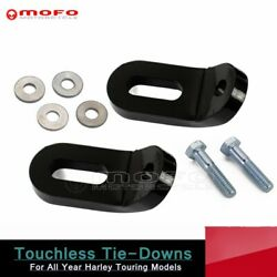 Black Motorcycle Steel Touchless Tie-downs Mount Bracket For Harley Road Glide