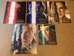 Carrie Fisher Harrison Ford Daisy Ridley Boyega Driver Star Wars Signed Tfa Set