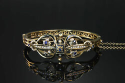 Early 20th Century 14k Gold Bangle Bracelet, Blue Sapphire, Seed Pearls, Antique