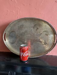 Vintage Silver Plated Tray Large Gallery Ball Claw Feet Tarnished