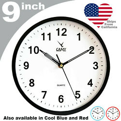 CAMY Wall Clock 9 Inch Silent Non Ticking Quartz Battery Operated Round Easy