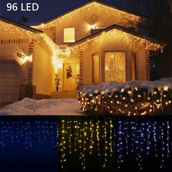 13-130'ft Led Fairy Icicle String Curtain Lights Indoor Outdoor Xmas Decor White