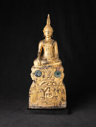 Antique Wooden Laotian Buddha Statue From Laos 18th Century