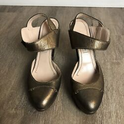 Lautre Chose Women's Gold/brown Leather Ankle Tie Italy Made Heel Shoes Sz 39.5