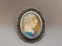 Antique Victorian Painted Lady Portrait Filigree Brooch Pendant 800 Silver Mark