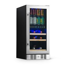 """Newair 15"""" Premium Built-in Dual Zone 9 Bottle 48 Can Wine And Beverage Nwb057ss00"""