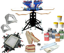 6 Color 6 Station Silk Screen Printing Kit With Screen Stretcher/frame/mesh