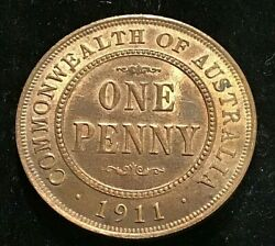 Australia 1911 Penny, Choice Uncirculated. Mint Luster , Very Pleasing.