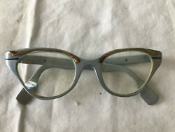 Vintage TURA INC Eyeglasses 1950's RX Cat Eye Frames Silver Bronze Two tone $18.00