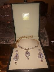 Sterling Silver Costume Made Necklace Set Natural Jems Brand New