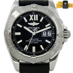 Breitling Galactic A49350 41mm Stainless Steel Leather Black Strap 2yrwty I3095