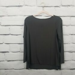 Eileen Fisher Womens Size Petite Small Top Long Sleeve Stretch Gray Hi Low Hem