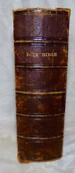 1872 Small Holy Bible Antique Leather King James, New York, Boston W/ Telegraph