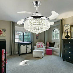 Crystal Led Chandelier Invisible Ceiling Fan Light Ceiling Lamp W/ Remote Gold