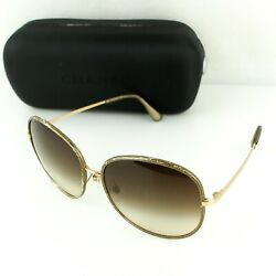 CHANEL Aviator Sunglasses Leather Gold Brown Gradient 4163 Q with Case $89.00