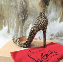 Christian Louboutin Rare Gold Ring Strass Crystal Embellished 120 Heels