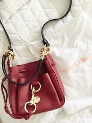 See By Chloe Tony Small Bucket Leather Shoulder Bag in Maroon MSRP$375 $189.99