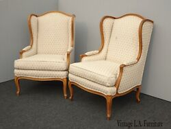 Pair Vintage Baker Furniture French Country Wingback Bergere Chairs Off White