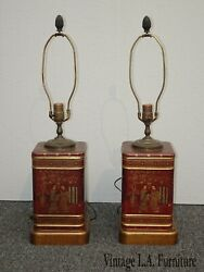 Pair Vintage Oriental Asian Chinoiserie Tin Table Lamps By Frederick Cooper