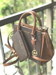 Michael Kors Women PVC Leather Crossbody Handbag Bag Satchel Purse Brown Wallet $222.50