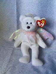 """Ty Beanie Baby """"halo"""" The Angel Bear 1998 W/brown Nose And Tag Errors Mint Cond."""