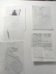 Vintage Huge Lot Of Dungeons And Dragons Handwritten Cards / Pictures / Maps D And D