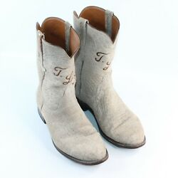 Vintage Lucchese 10.5 E Exotic Full Hippo Custom Monogram Western Cowboy Boots