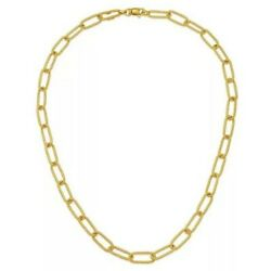 14kt Yellow Gold Link Rectangle Necklace Chain Paper Clip Rope Twist Links 34