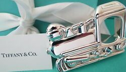 And Co. Sterling Silver Baby Train Teether Rattle And Pouch And Box