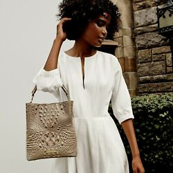 ❤brahmin Amelia Bucket Bag + Sara Envelope + Coin Grey Taupe Gold Croc Leather❤