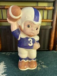 Vintage Russ And Berrie 1974 Piggy Bank Baby Quarterback Football Player 3