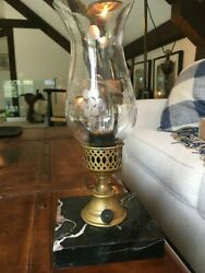 Vintage Pair Of Marble And Brass Base Electric Hurricane Lamps Two Chimney Styles