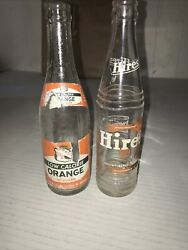 Canada Dry Loe Calerie Orange And Hires Root Beer Clear Glass Pop Bottles