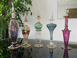 5 Large Egyptian Hand Blown Perfume Bottles Pyrex Glass, 7-8 Inches Tall