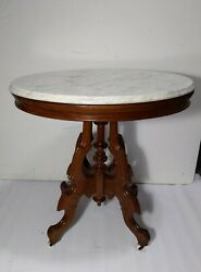 Antique Marble Top Rolling Carved Wood Parlor Table Victorian Eastlake Style