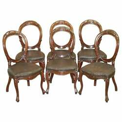 Suite Of Six Victorian Hand Carved Mahogany Spoon Medallion Back Dining Chairs 6