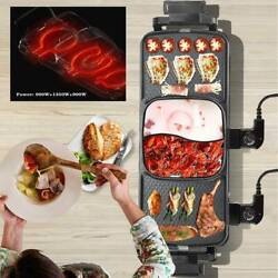 3 Grid Electric Grill Hot Pot Double Bbq Pan Frying Grill Barbecue Machine 110v