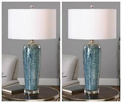 Two Maira Ceramic Xl 33 Table Lamps Brushed Nickel Metal Crystal Base Uttermost