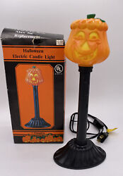 Vintage Pumpkin Halloween Electric Candle Light 1992 Blow Mold With Original Box