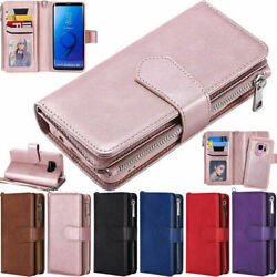 Zipper Leather Wallet Case For Samsung S20 S10 S8 S9 Plus Note 10 9 8 Removable
