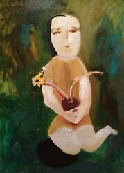 Girl With Flower Oil Painting On Canvas Panel 19 X 27