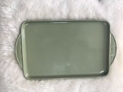 Longaberger Pottery Woven Traditions Serving Tray Platter Sage Green