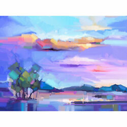 Abstract Sunset On Meadow Large Wall Art Print Canvas Premium Poster