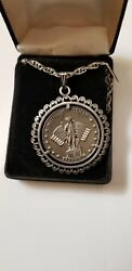 Minuteman1976 Bicentennial Pewter Medal Medallion On Chain Necklace W/box