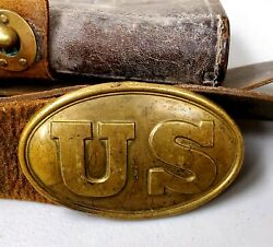 Antique Civil War Leather Ammo Cartridge Pouch, Belt And Us Buckle - Military