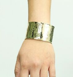Solid 14k Yellow Gold Hammered Cuff Bangle 6-7 35.5grs Italy