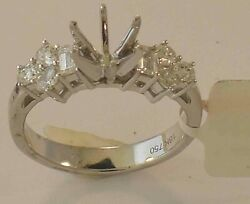 18k White Gold Diamond Engagement Ring Mounting Size 7 1/4 New With Tags