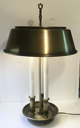 Antiqued Brass Bouillotte 3 Candlestick Lamp w Matching Metal Shade uses 2 Bulbs