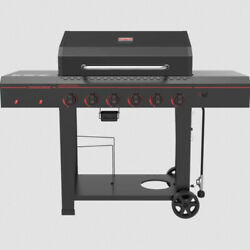 Outdoor Gas Grill 6-burner Propane Bbq Grill Black Steel Cast Iron With Wheels