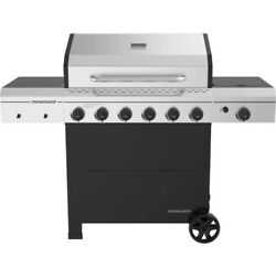 Outdoor Gas Grill 6-burner Propane Bbq Grill Silver Steel Cast Iron With Wheels